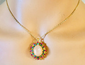 Genuine Ruby, Emerald and Moonstone Necklace
