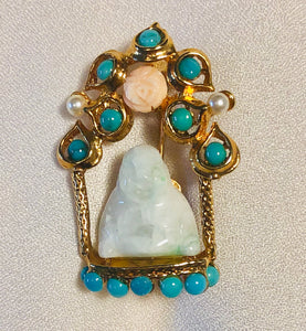 Turquoise, Pearl, Coral and Jadeite Brooch