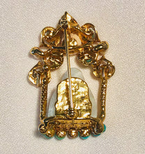Load image into Gallery viewer, Turquoise, Pearl, Coral and Jadeite Brooch