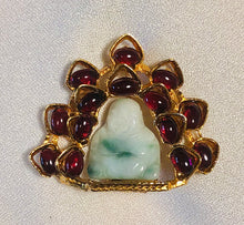 Load image into Gallery viewer, Garnet and Jadeite Brooch
