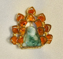 Load image into Gallery viewer, Carnelian and Jadeite Brooch