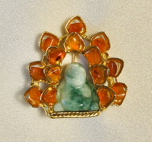 Carnelian and Jadeite Brooch