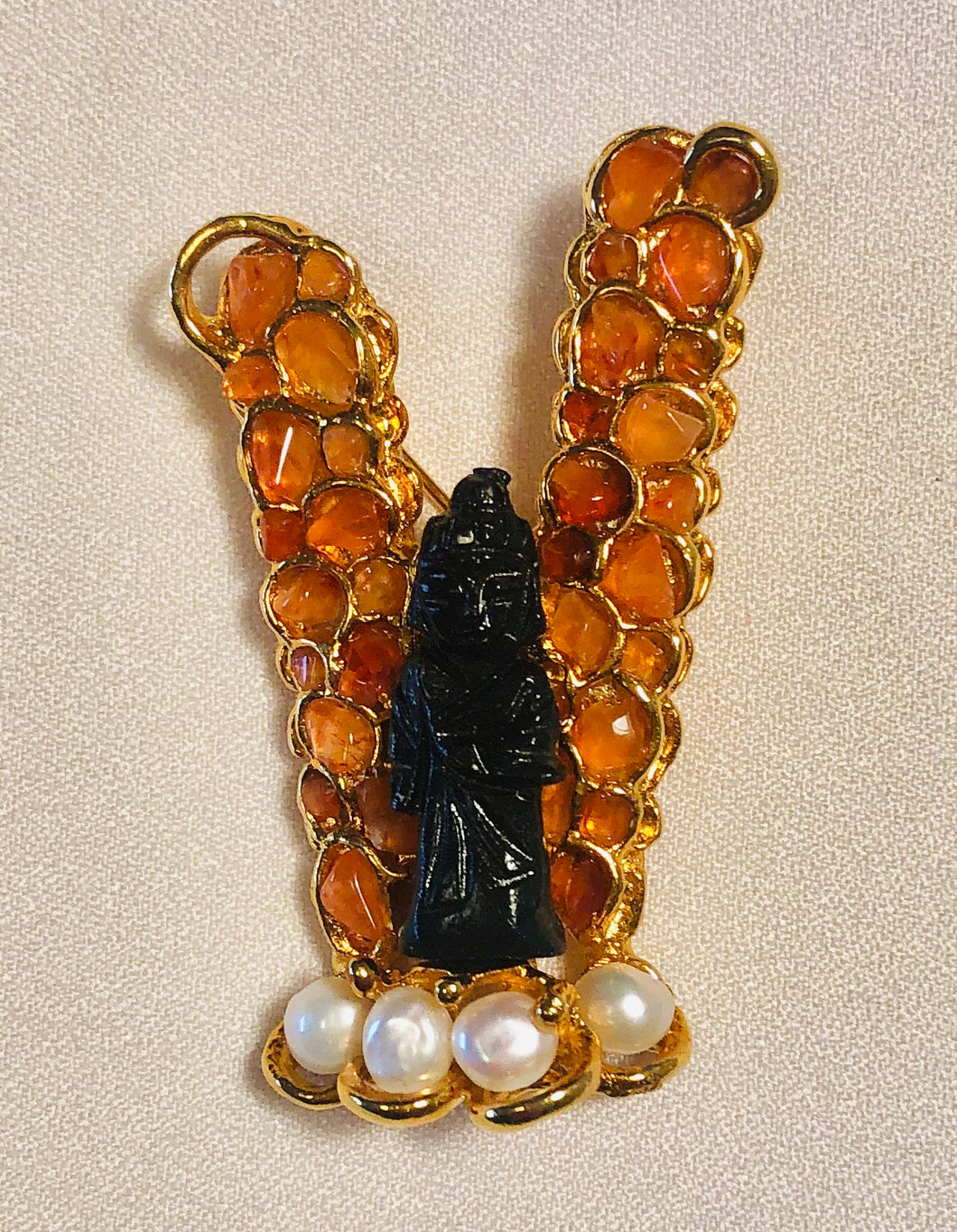 Carnelian and Fresh Water Pearl Brooch