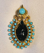 Load image into Gallery viewer, Turquoise, Pearl and Sapphire Brooch