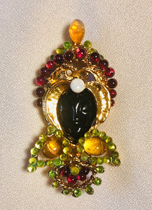 Citrine, Peridot, Garnet and Opal Brooch