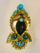 Load image into Gallery viewer, Peridot, Turquoise and Blue Opal Brooch