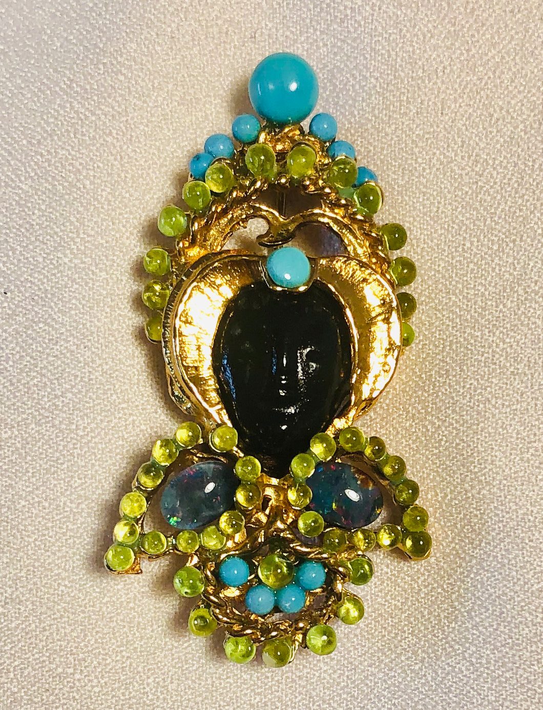Peridot, Turquoise and Blue Opal Brooch