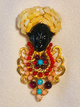 Load image into Gallery viewer, Coral, Garnet, Turquoise and Howlite Brooch