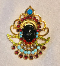 Load image into Gallery viewer, Peridot, Garnet, Turquoise, Coral and Pearl Brooch