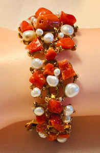 Coral and Fresh Water Pearl Bracelet