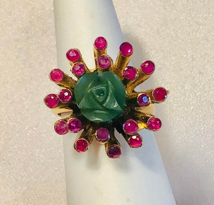 Genuine Ruby and Jade Ring