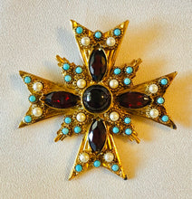 Load image into Gallery viewer, Garnet, Turquoise and Pearl Cross Pendant / Brooch