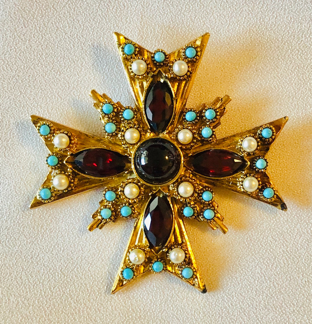 Garnet, Turquoise and Pearl Cross Pendant / Brooch