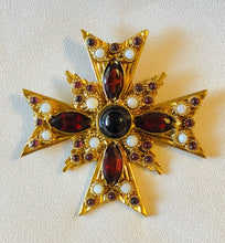 Load image into Gallery viewer, Garnet and Opal Cross Pendant / Brooch