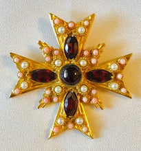 Load image into Gallery viewer, Garnet, Coral and Pearl Cross Pendant / Brooch