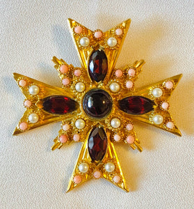 Garnet, Coral and Pearl Cross Pendant / Brooch