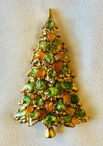 Peridot and Carnelian Brooch