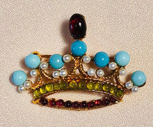 Load image into Gallery viewer, Turquoise, Peridot, Garnet and Pearl Brooch