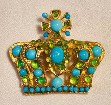 Load image into Gallery viewer, Turquoise and Peridot Brooch