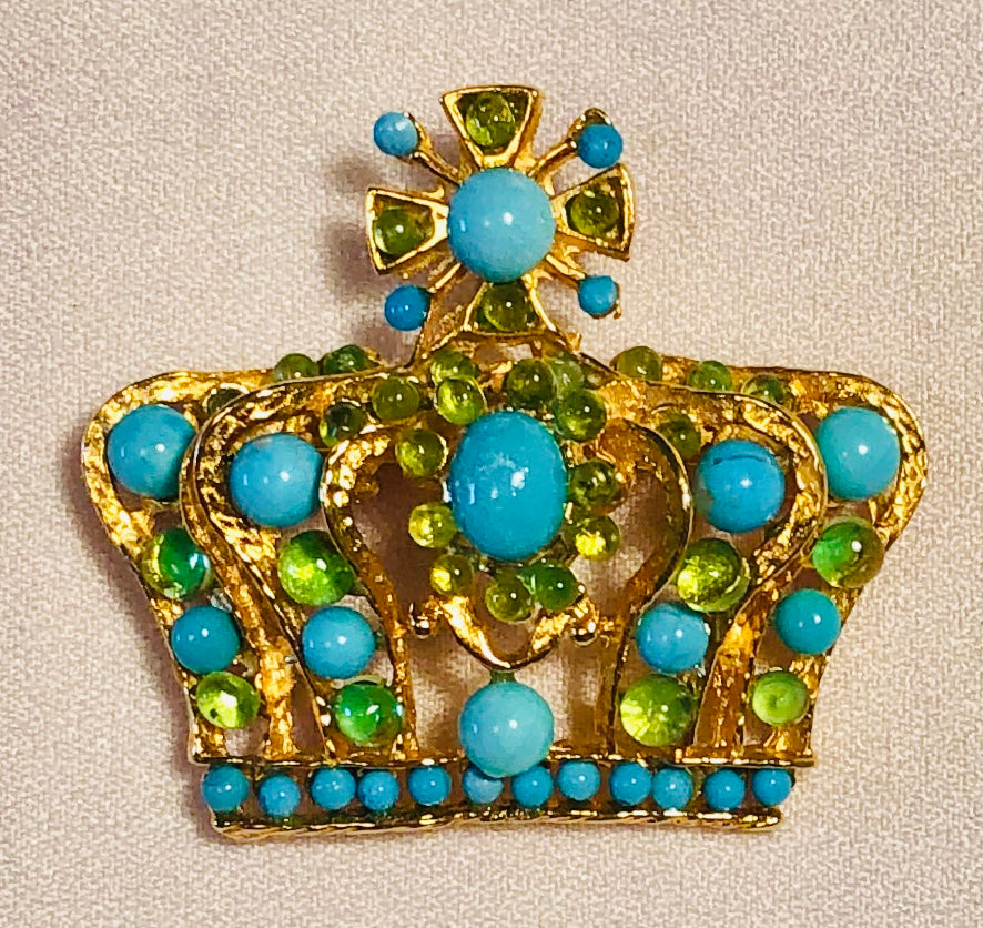 Turquoise and Peridot Brooch