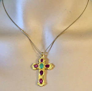 Genuine Ruby and Emerald Cross