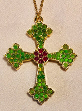 Load image into Gallery viewer, Genuine Ruby and Peridot Cross Pendant