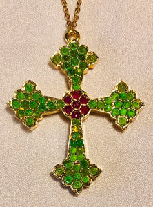 Genuine Ruby and Peridot Cross Pendant