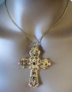 Coral and Garnet Cross Pendant
