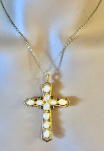 Reversible Moonstone and Garnet Cross Pendant