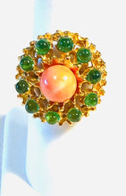 Load image into Gallery viewer, Peridot and Coral Ring