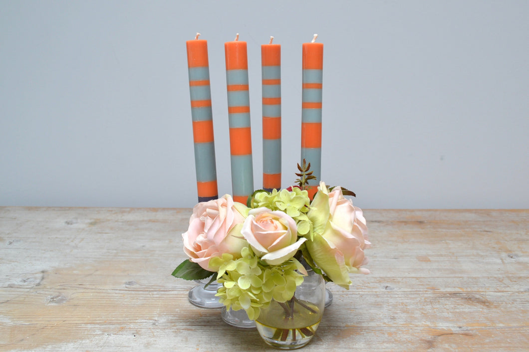 Candles - striped Gunmetal, Opaline & Marigold SALE PRCE £15