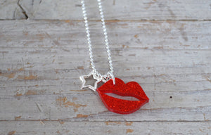 Acrylic Lip & Star necklace