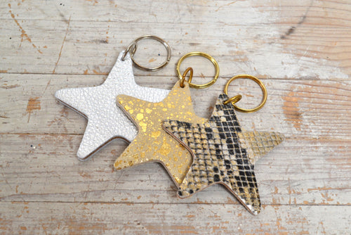 Cow Hide star key rings