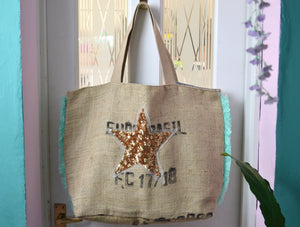 Hessian Tote - with fringes