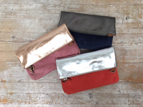 Metallic 2 way Leather messenger clutch bag - Sale Price!