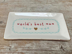 World's Best Mum - trinket plate - Sale Price!