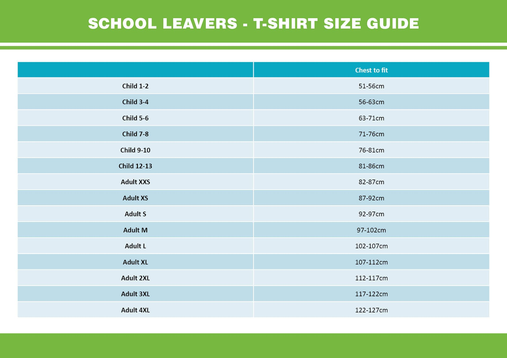 school leavers t-shirt size guide - 2020 leavers hoodies for schools