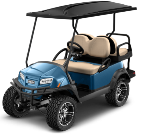 New 2021 Club Car Onward 4-Passenger Electric HP AC Drive Metallic Ice Blue Lifted