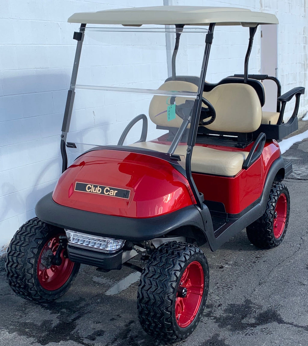 CERTIFIED PRE-OWNED 2014 Club Car Precedent Electric 4 Passenger Lifted Ruby with Lights and 2019 Batteries, Custom Wheel