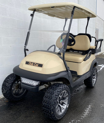 CERTIFIED PRE-OWNED 2016 Club Car Precedent Electric 4 Passenger Lifted Beige with Lights and 2019 Batteries, Custom Wheels