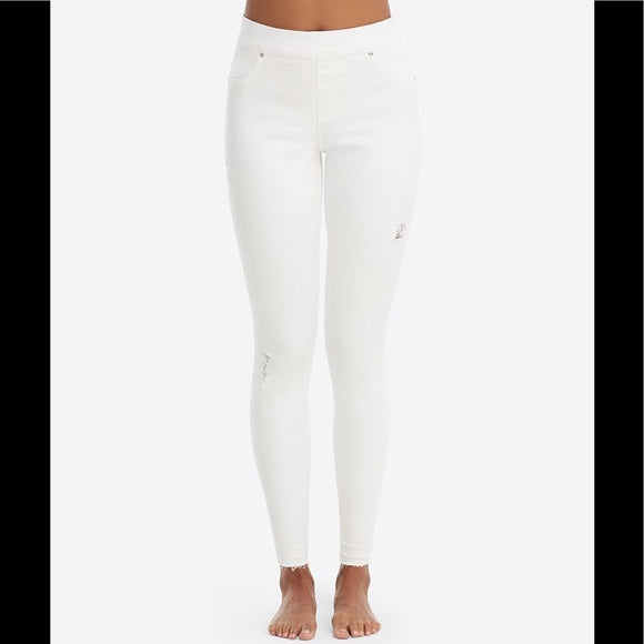 Spanx White Skinny Distressed Jean