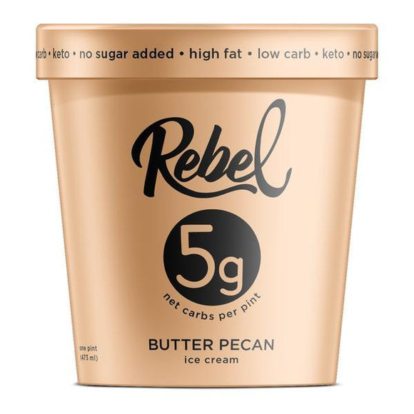 Rebel Ice Cream Butter Pecan Pint - East Side Grocery