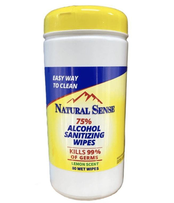 Natural Sense Alcohol Wipes Lemon 80ct. - East Side Grocery