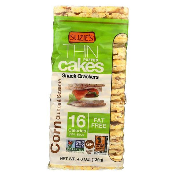 Suzie's Thin Puffed Cakes Corn Quinoa & Sesame 4.6oz. - East Side Grocery