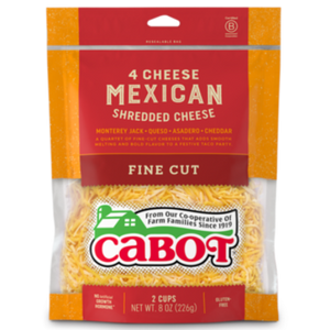 Cabot Shredded Cheese 4 Cheese Mexican 8oz. - East Side Grocery