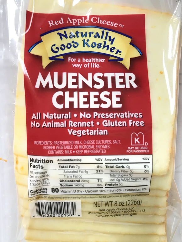 Naturally Kosher Muenster Sliced Cheese 8oz. - East Side Grocery