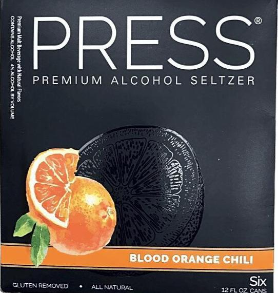 Press Hard Seltzer Blood Orange Chili 12oz. Can - East Side Grocery