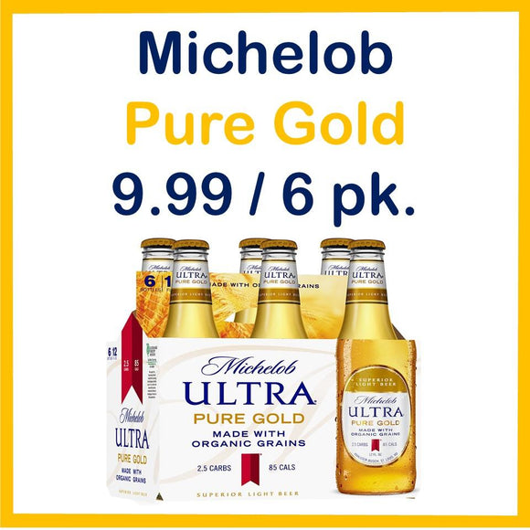 Michelob Pure Gold 6 Pack 12oz. Bottle Special