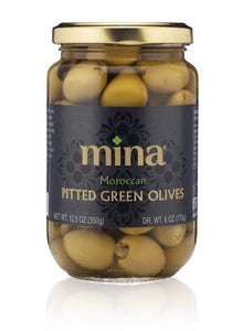 Mina Moroccan Pitted Green Olives - 12.5oz. - East Side Grocery