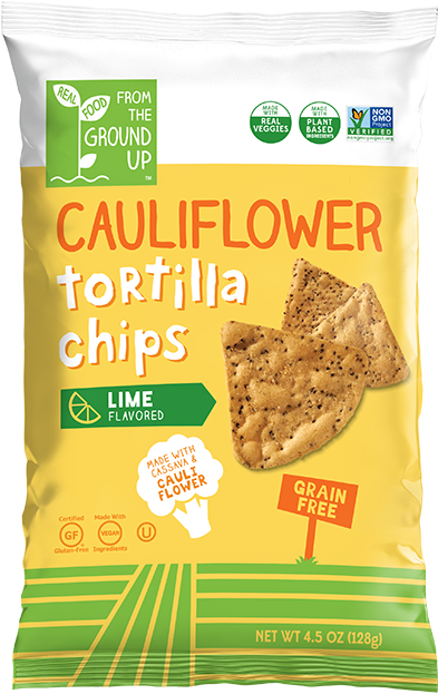 Ground Up Cauliflower Tortilla Chips  Lime - 4.5oz. - East Side Grocery